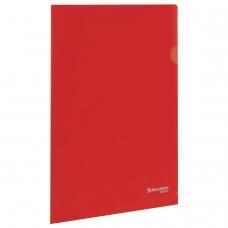 Папка-уголок жесткая, непрозрачная BRAUBERG, красная, 0,15 мм, 224879