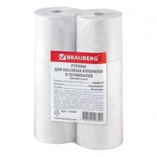 Рулоны для кассовых аппаратов и терминалов, термобумага 80х80х18 80 м, комплект 6 шт., BRAUBERG, 110896