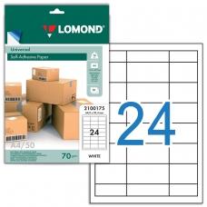 Этикетка самоклеящаяся 64,6х33,4 мм, 24 этикетки, белая, 70 г/м2, 50 л., LOMOND, 2100175, 2100175