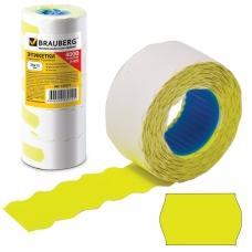Этикет-лента 26х12 мм, волна, желтая, комплект 5 рулонов по 800 шт., BRAUBERG, 123577