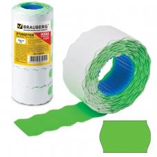 Этикет-лента 26х12 мм, волна, зеленая, комплект 5 рулонов по 800 шт., BRAUBERG, 123579
