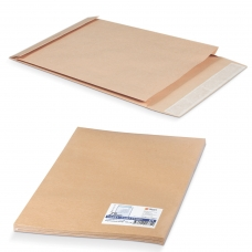 Конверт-пакет С4 объемный, комплект 25 шт., 229х324х40 мм, отрывная полоса, крафт-бумага, коричневый, на 250 листов, 381227.25