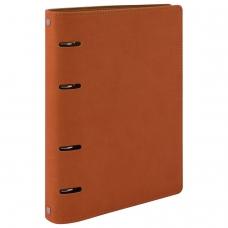 Тетрадь на кольцах 120 л. BRAUBERG А5 'Joy', под фактурную кожу, оранжевый/светло-оранжевый, 129992