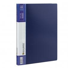 Папка с боковым металлическим прижимом и внутренним карманом BRAUBERG 'Contract', синяя, до 100 л., 0,7 мм, 221787