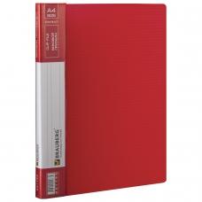 Папка с боковым металлическим прижимом и внутренним карманом BRAUBERG 'Contract', красная, до 100 л., 0,7 мм, 221788