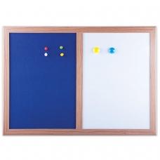 Доска магнитно-маркерная BRAUBERG, с текстильным покрытием, для объявлений А3, 342х484 мм, синяя/белая, 231995