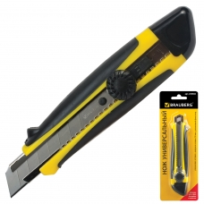 Нож универсальный 18 мм BRAUBERG, роликовый фиксатор, резиновые вставки, блистер, 235402