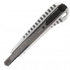 Нож универсальный 9 мм BRAUBERG, металлический корпус рифленый, автофиксатор, блистер, 236971