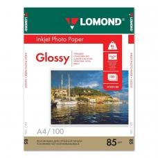 Фотобумага LOMOND для струйной печати, A4, 85 г/м2, 100 л., односторонняя глянцевая, 0102145