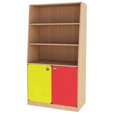 Шкаф для игрушек детский, 800х400х1500 мм, ЛДСП, бук бавария/цветной фасад