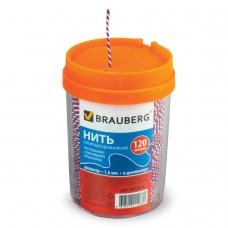 Нить хлопчатобумажная для прошивки документов BRAUBERG, диаметр 1,6 мм, длина 120 м, в диспенсере, 'ТРИКОЛОР', 601813