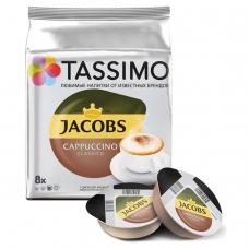 Капсулы для кофемашин TASSIMO JACOBS 'Cappuccino', натуральный кофе 8 шт. х 8 г, молочные капсулы 8 шт. х 40 г, Capuchino